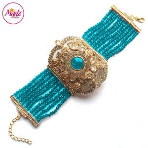 Madz Fashionz UK: Bridal Hennabyang Imperial Jhoda Cuff Bracelet Handpiece Angla Gold Sky Blue