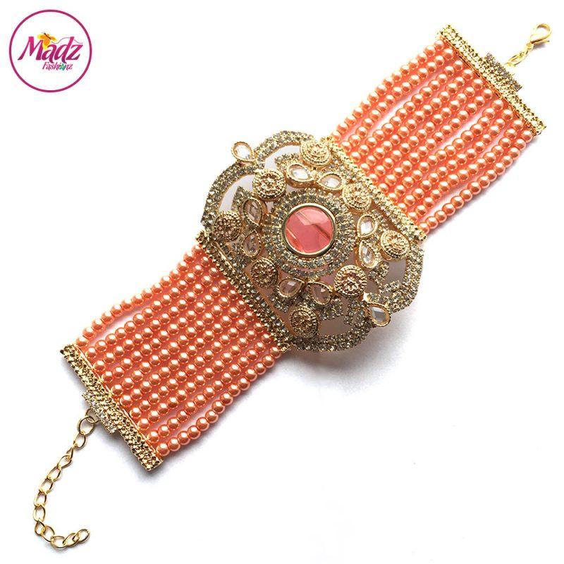 Madz Fashionz UK: Bridal Hennabyang Imperial Jhoda Cuff Bracelet Handpiece Angla Gold Peach