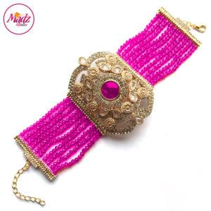 Madz Fashionz UK: Bridal Hennabyang Imperial Jhoda Cuff Bracelet Handpiece Angla Gold Shocking Pink