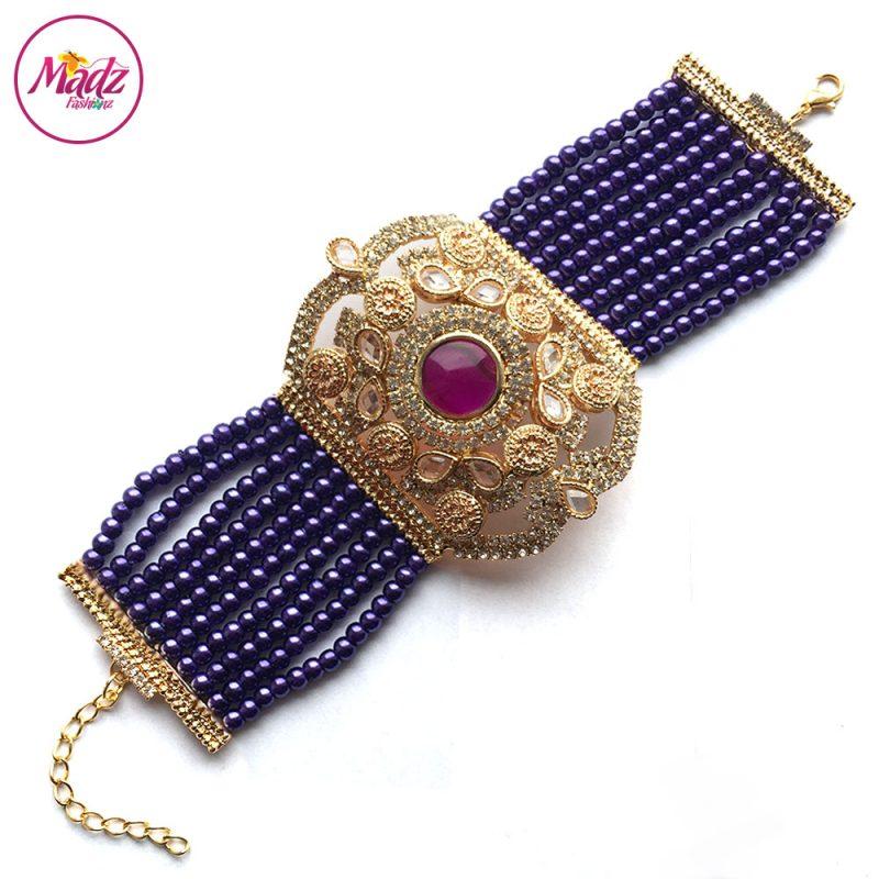 Madz Fashionz UK: Bridal Hennabyang Imperial Jhoda Cuff Bracelet Handpiece Angla Gold Purple