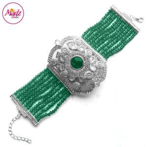 Madz Fashionz UK: Bridal Hennabyang Imperial Jhoda Cuff Bracelet Handpiece Angla silver Dark Green