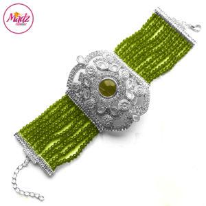 Madz Fashionz UK: Bridal Hennabyang Imperial Jhoda Cuff Bracelet Handpiece Angla silver Mehndi Green