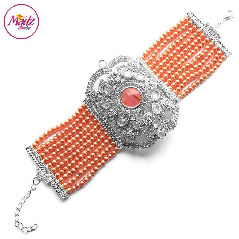 Madz Fashionz UK: Bridal Hennabyang Imperial Jhoda Cuff Bracelet Handpiece Angla silver Peach