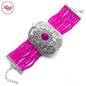 Madz Fashionz UK: Bridal Hennabyang Imperial Jhoda Cuff Bracelet Handpiece Angla silver Shocking Pink