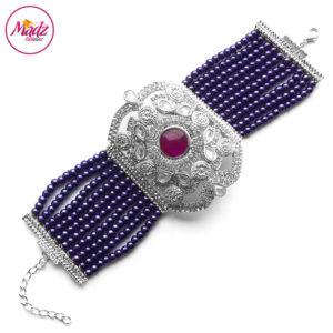 Madz Fashionz UK: Bridal Hennabyang Imperial Jhoda Cuff Bracelet Handpiece Angla silver Purple