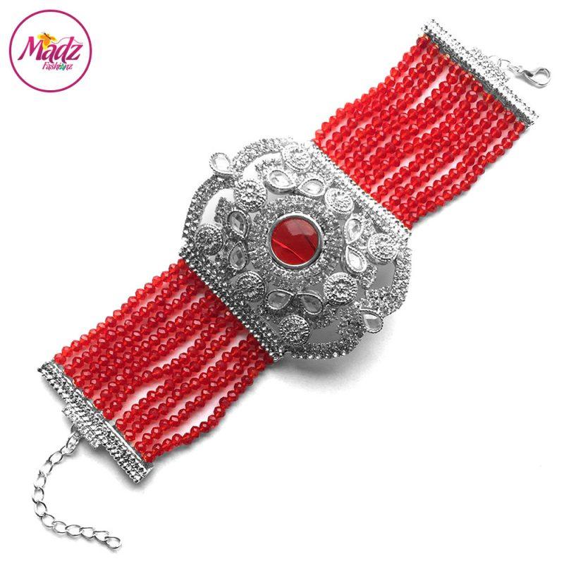 Madz Fashionz UK: Bridal Hennabyang Imperial Jhoda Cuff Bracelet Handpiece Angla silver Red