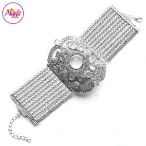 Madz Fashionz UK: Bridal Hennabyang Imperial Jhoda Cuff Bracelet Handpiece Angla silver White
