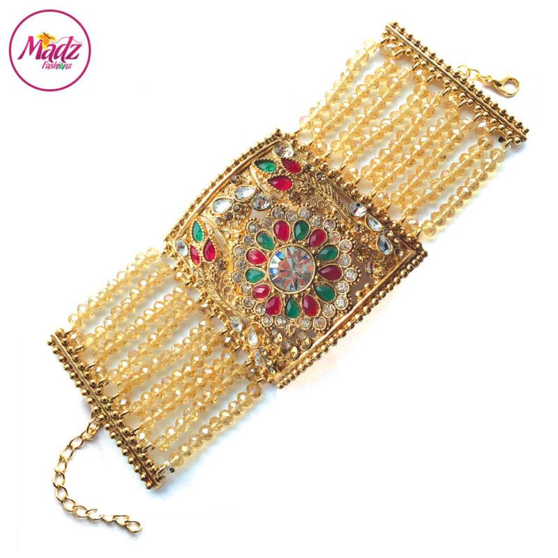 Madz Fashionz UK: Bridal Cuff Bracelet Handpiece Handchain Angla Gold Red Green Champagne