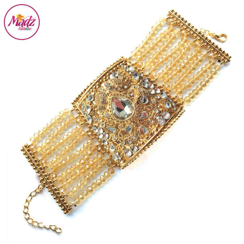 Madz Fashionz UK: Asian Bridal Cuff Bracelet Handpiece Handchain Angla Gold Champagne