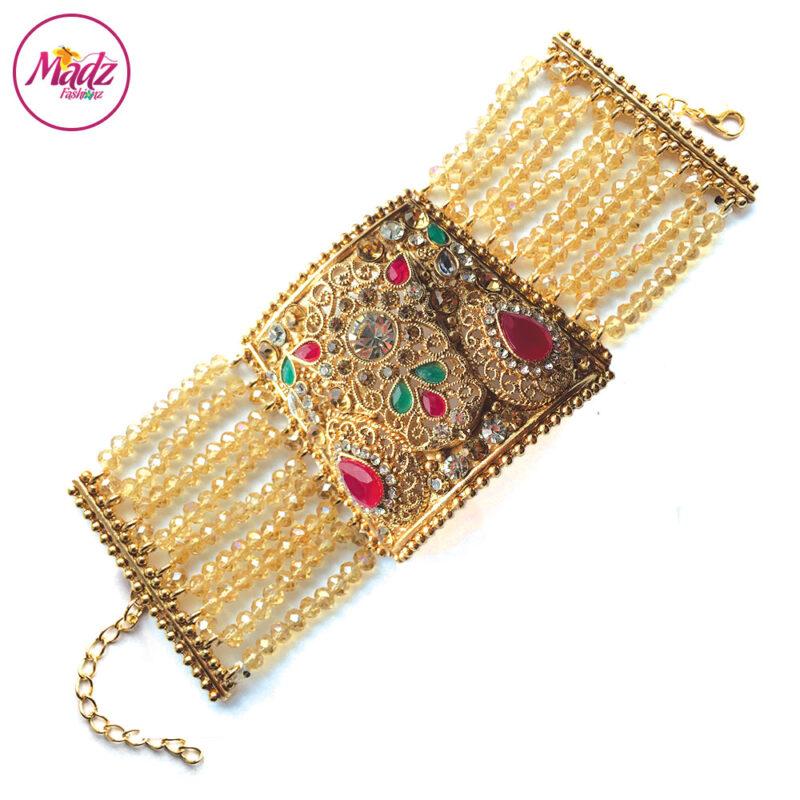Madz Fashionz UK: Traditional Bridal Cuff Bracelet Handpiece Handchain Angla Gold Red Green Champagne
