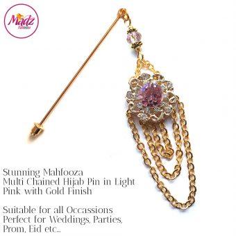 Madz Fashionz UK: Mehfooza Chandelier Drop Hijab Pin Hijab Jewels Stick Pins Gold Chained Light Pink