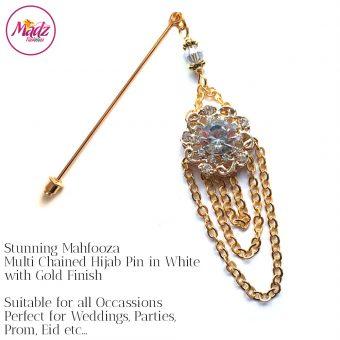 Madz Fashionz UK: Mehfooza Chandelier Drop Hijab Pin Hijab Jewels Stick Pins Gold Chained White