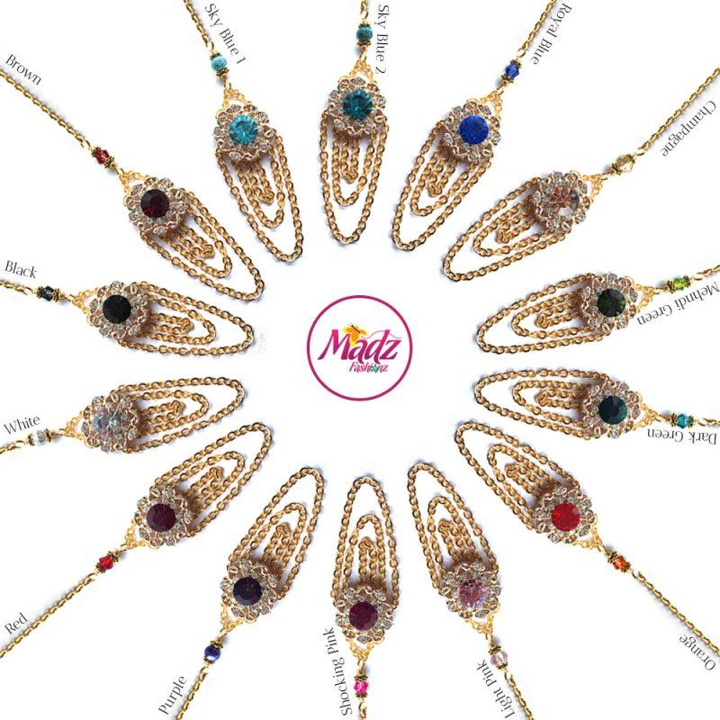 Madz Fashionz UK: Mehfooza Chandelier Maang Tikka Hair Tikka Gold Multi Chained Tassel