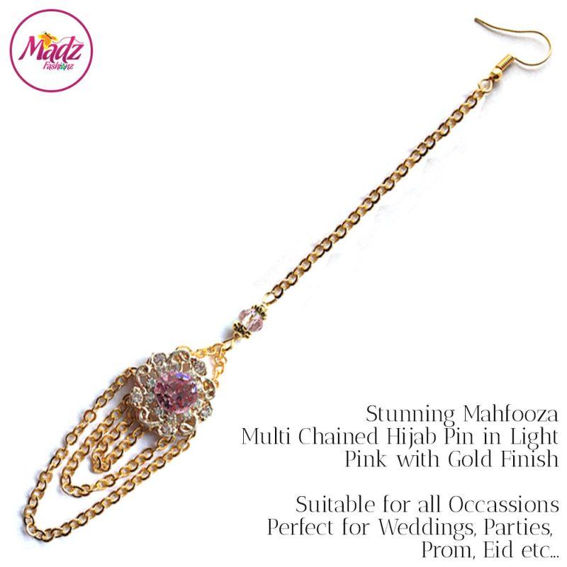 Madz Fashionz UK: Mehfooza Chandelier Maang Tikka Hair Tikka Gold Multi Chained Tassel Light Pink