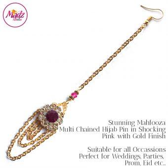 Madz Fashionz UK: Mehfooza Chandelier Maang Tikka Hair Tikka Gold Multi Chained Tassel Shocking Pink