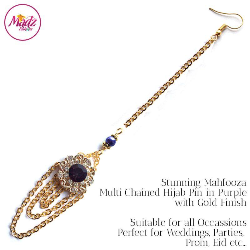 Madz Fashionz UK: Mehfooza Chandelier Maang Tikka Hair Tikka Gold Multi Chained Tassel Purple