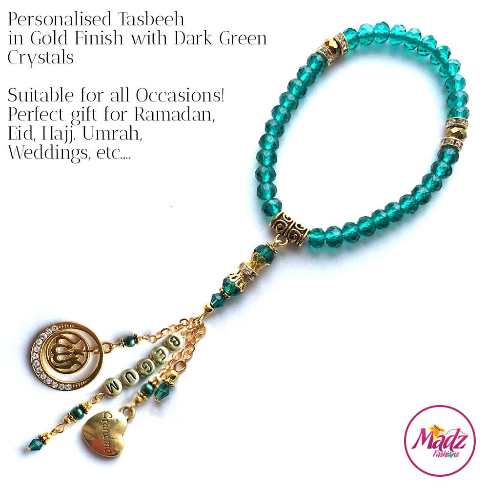 Madz Fashionz UK: 33 Beads Personalised Tasbeeh with Dark Green in Gold Finish