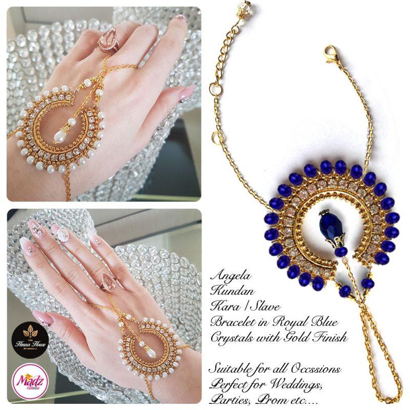 Madz Fashionz UK: Hennabyang Asian Bespoke Kundan Handchain Slave Bracelet Gold Royal Blue Crystal