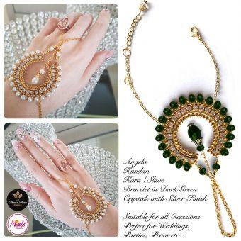 Madz Fashionz UK: Hennabyang Asian Bespoke Kundan Handchain Slave Bracelet Gold Green Dark Crystal