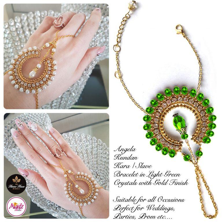 Madz Fashionz UK: Hennabyang Asian Bespoke Kundan Handchain Slave Bracelet Gold Green Light Crystal