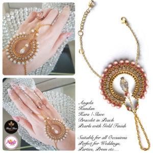 Madz Fashionz UK: Hennabyang Asian Bespoke Kundan Handchain Slave Bracelet Gold Peach Pearls