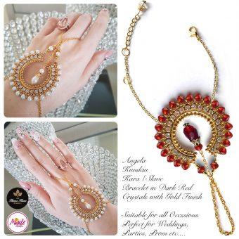 Madz Fashionz UK: Hennabyang Asian Bespoke Kundan Handchain Slave Bracelet Gold Red Crystal