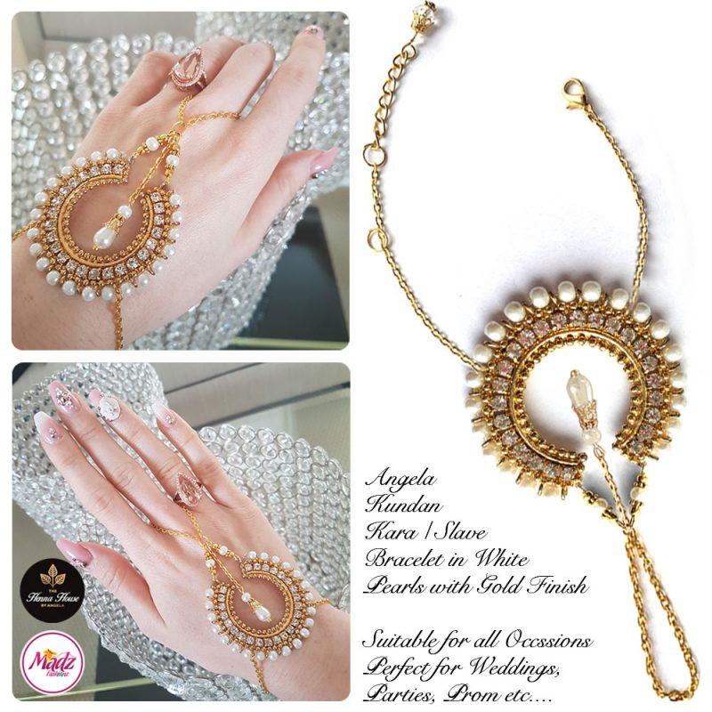 Madz Fashionz UK: Hennabyang Asian Bespoke Kundan Handchain Slave Bracelet Gold Pearl White Crystal