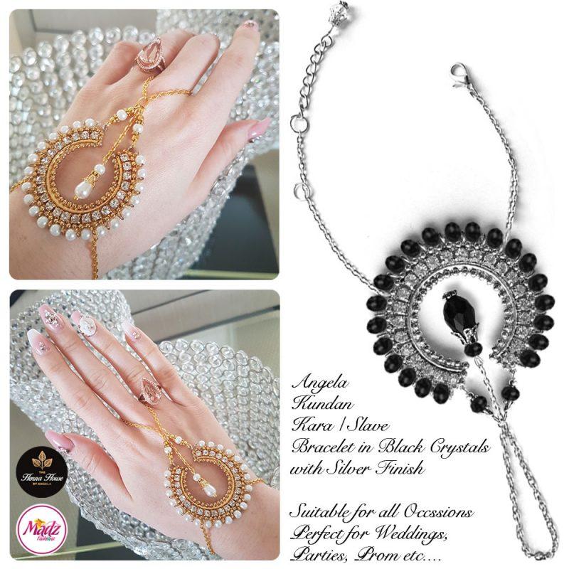 Madz Fashionz UK: Hennabyang Asian Bespoke Kundan Handchain Slave Bracelet Silver Black Crystal