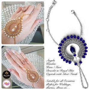 Madz Fashionz UK: Hennabyang Asian Bespoke Kundan Handchain Slave Bracelet Silver Royal Blue Crystal