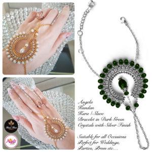 Madz Fashionz UK: Hennabyang Asian Bespoke Kundan Handchain Slave Bracelet Silver Dark Green Crystal