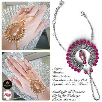 Madz Fashionz UK: Hennabyang Asian Bespoke Kundan Handchain Slave Bracelet Silver Shocking Pink Crystal
