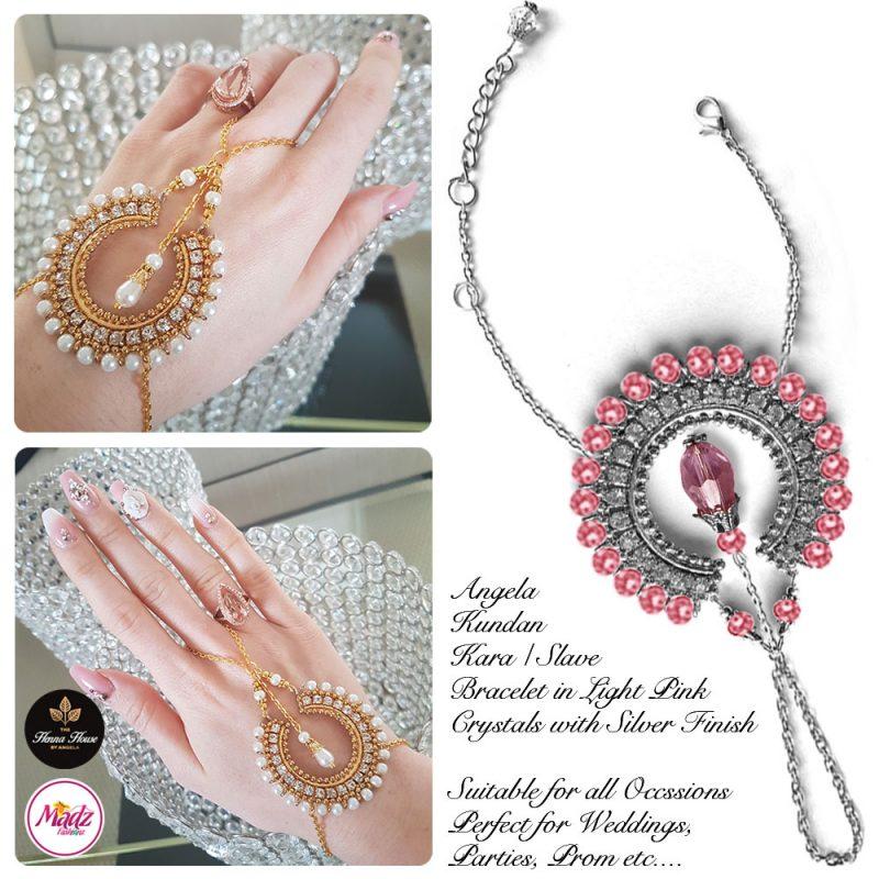 Madz Fashionz UK: Hennabyang Asian Bespoke Kundan Handchain Slave Bracelet Silver Light Pink Crystal