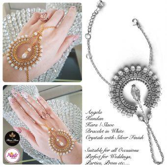 Madz Fashionz UK: Hennabyang Asian Bespoke Kundan Handchain Slave Bracelet Silver White Crystal