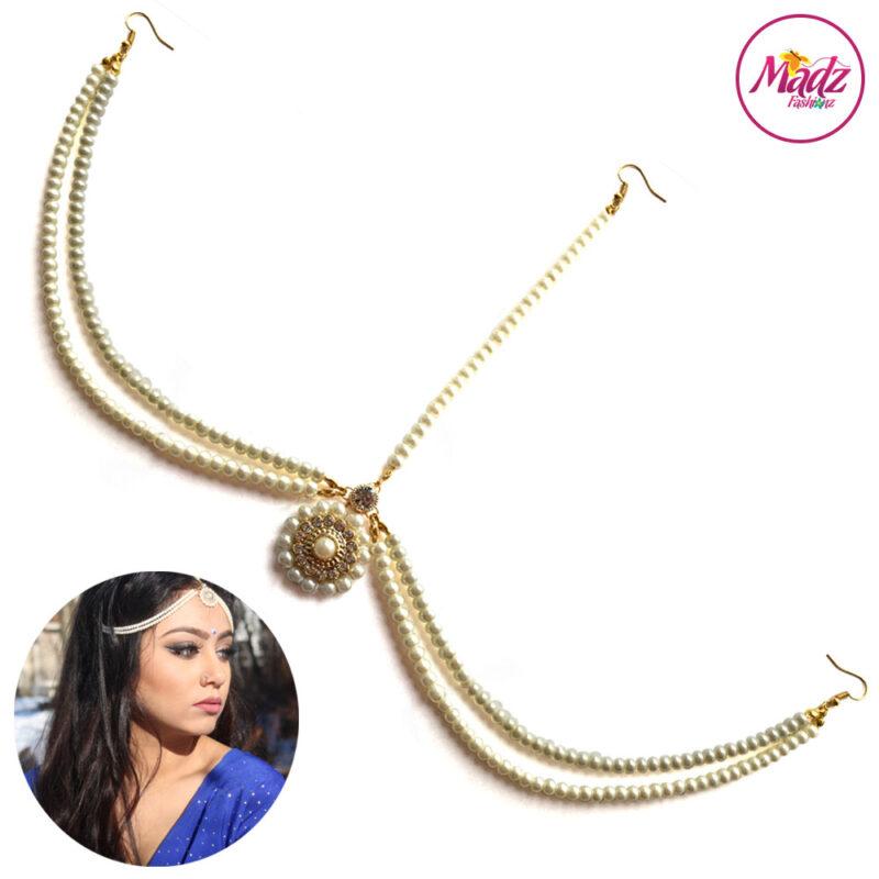 Madz Fashionz UK Sanya Ratanpal Kundan Headpiece Matha Patti Gold Pearled White