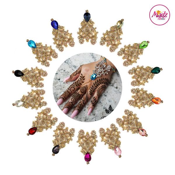 Madz Fashionz UK: Hennabyang Indian Bridal Hand chain Slave Bracelet Kundan Gold Silver all colours