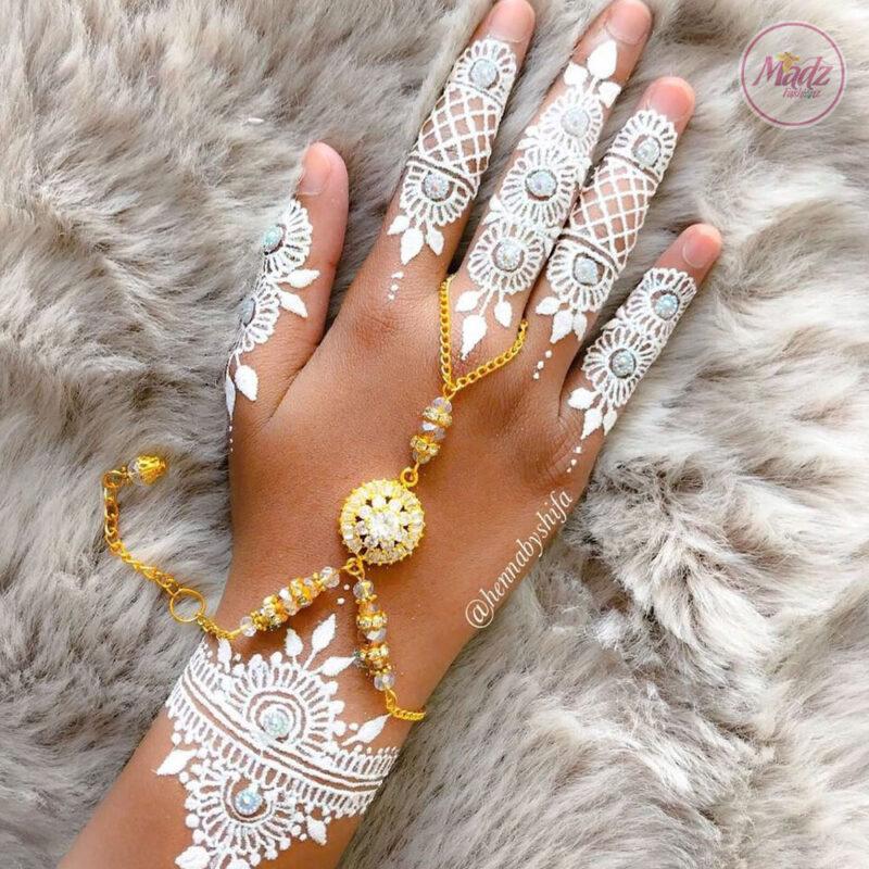 Madz Fashionz UK: Hennabyshifa Delicate Indian Gold Silver White hand chain Slave Bracelet