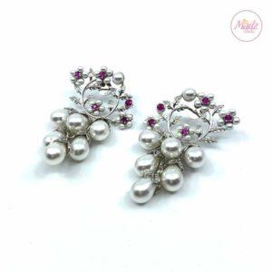 Madz Fashionz UK Jhumka Earrings, Indian Jewelry, Indian Earrings, Kundan Earrings, Big Jhumka Earrings Silver Pearled Pink White Pearl Jewellery SBRK