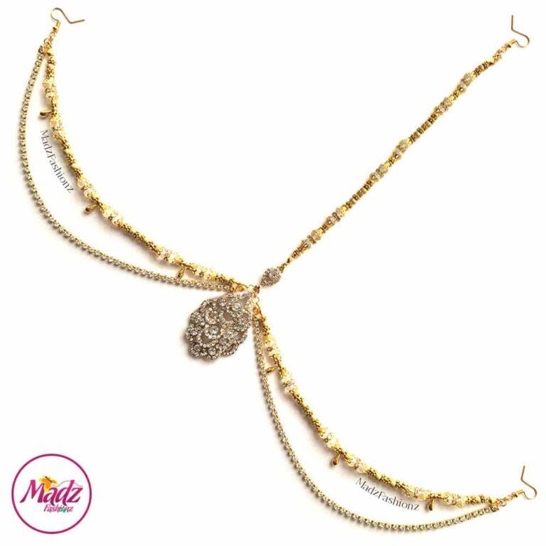 Gold Bridal Headpiece , White Forehead Jewelry - Ayesha , Hair Jewellery - MadZFashionZ UK