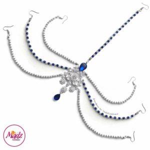 Madz Fashionz UK: Romy Ahmed Bridal Headpiece 10 Head chain Matha Patti Silver Royal Blue