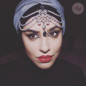 Madz Fashionz UK: Romy Ahmed Bridal Headpiece 10 Head chain Matha Patti Gold Royal Blue Silver