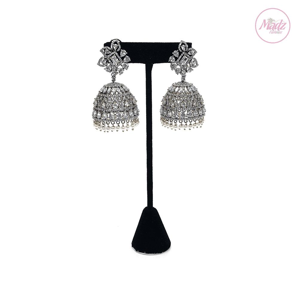 Madz Fashionz UK Lajja Jhumkas Earrings White Pakistani Jewellery Indian Jewellery Pakistani Jewellery