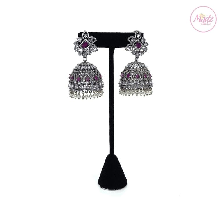 Madz Fashionz UK Lajja Jhumkas Earrings Shocking Pink Pakistani Jewellery Indian Jewellery Pakistani Jewellery