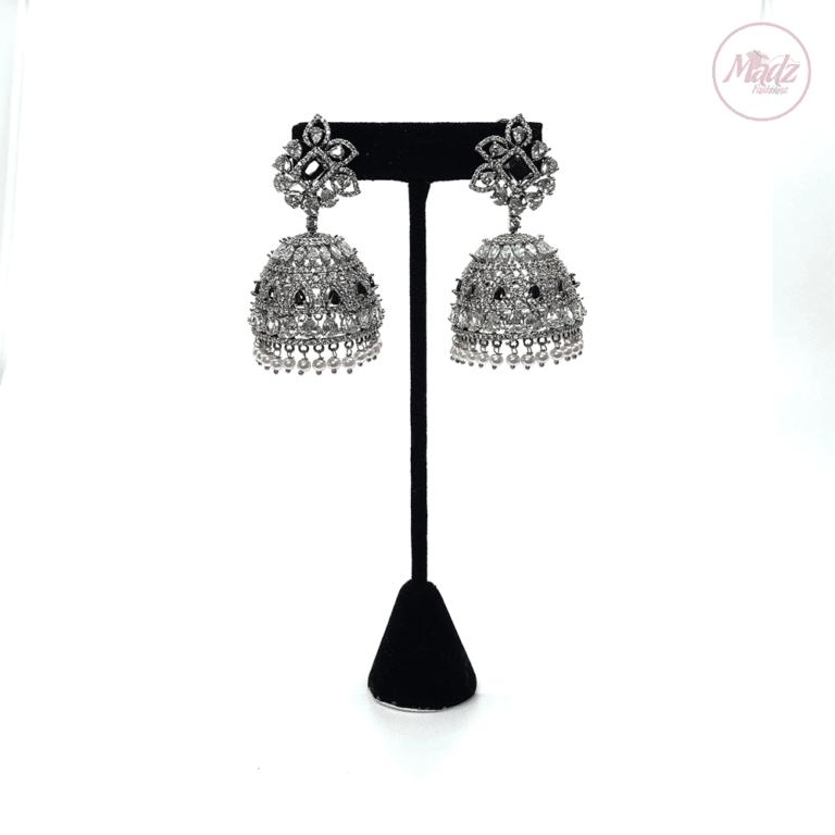 Madz Fashionz UK Lajja Jhumkas Earrings Black Pakistani Jewellery Indian Jewellery Pakistani Jewellery