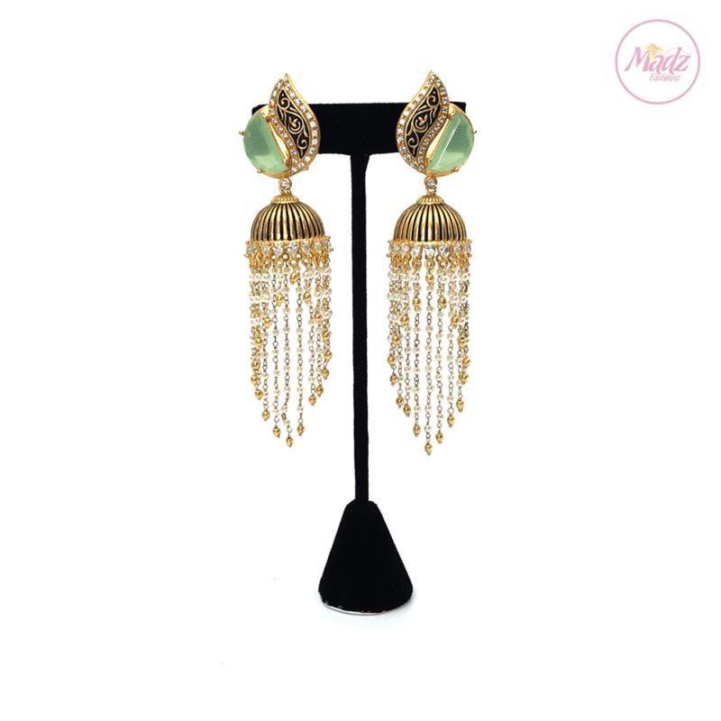 Madz Fashionz UK Kalaash Jhumkas Kundan Green Pearled Earrings Indian Jewellery Pakistani Jewellery