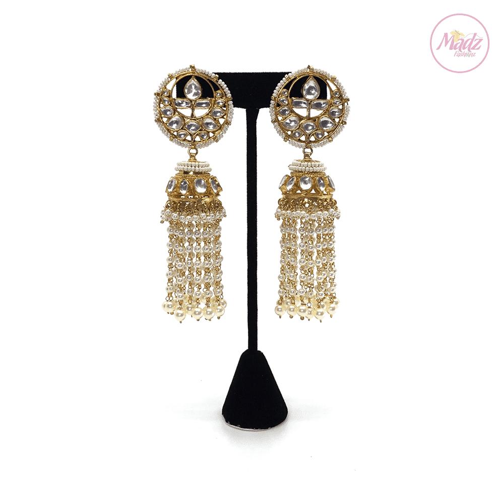 Madz Fashionz UK Noor Jaan Pearled Kundan Jhumkas White Earrings Indian Jewellery