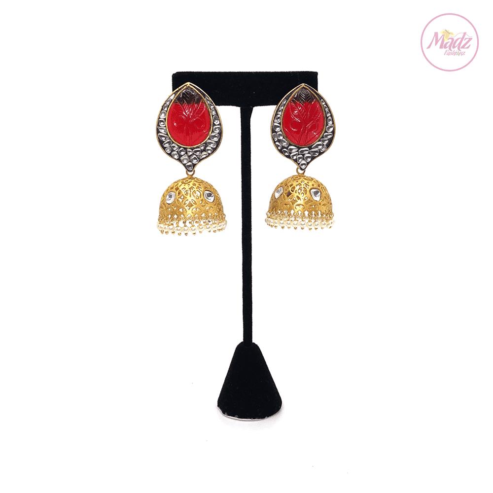 Madz Fashionz UK Fiza Stone Kundan Jhumkas Red Earrings Indian Jewellery Pakistani Jewellery