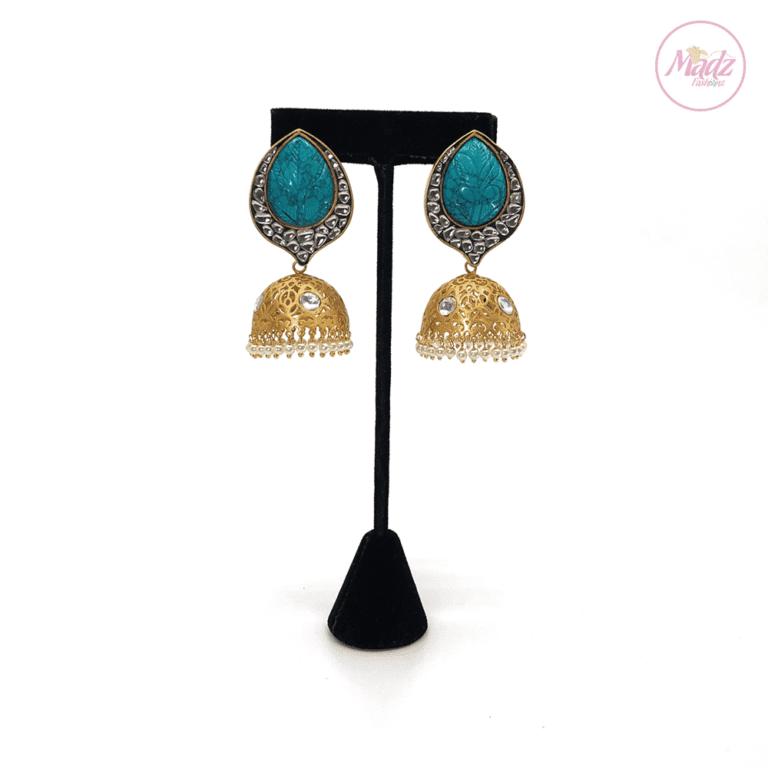 Madz Fashionz UK Fiza Stone Kundan Jhumkas Sky Blue Earrings Indian Jewellery Pakistani Jewellery