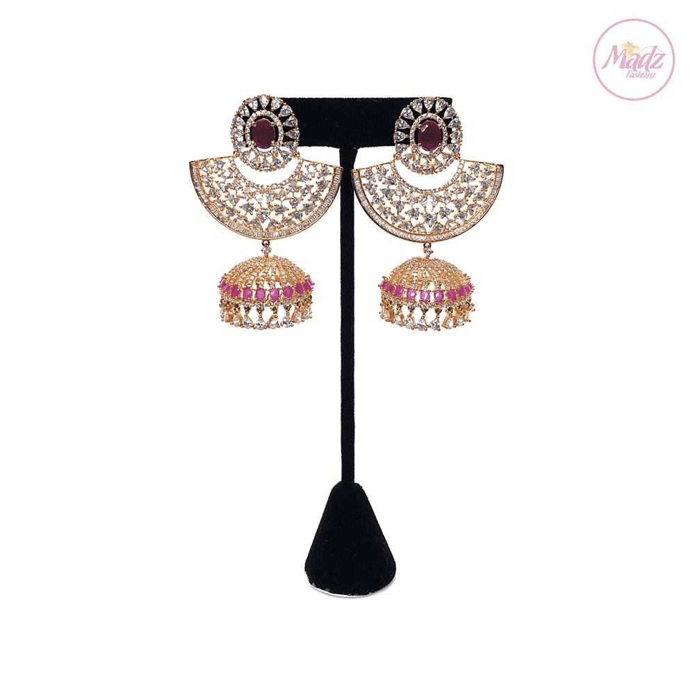 Madz Fashionz UK Maleyka Shocking Pink Jhumka Earrings Pakistani Jewellery Indian Jewellery