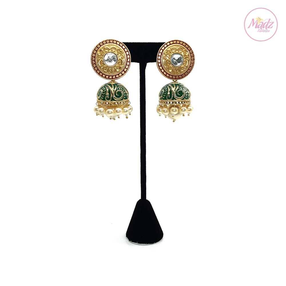 Madz Fashionz UK Mughal Aura Green Jhumkas Indian Kundan Earrings Jewellery