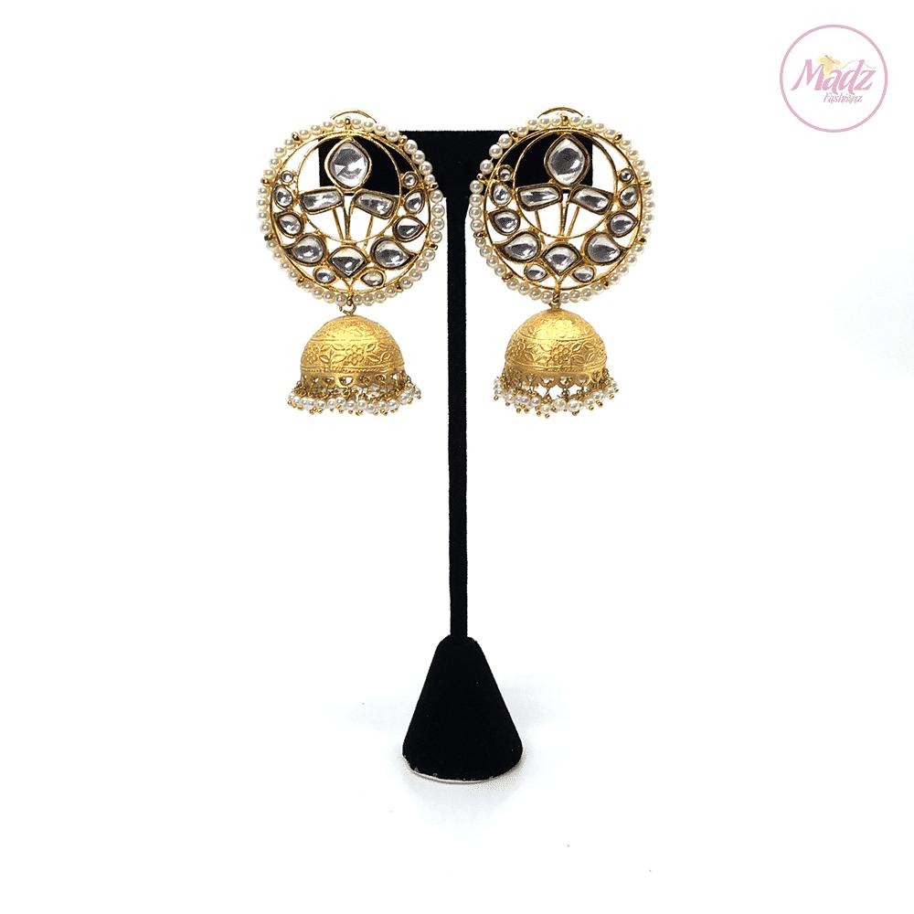 Madz Fashionz UK Padmavati Rajput Pearled Kundan Jhumkas White Earrings Pakistani Jewellery